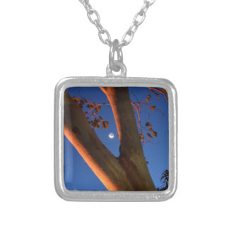 WAXING MOON AND GUM TREE QUEENSLAND AUSTRALIA SQUARE PENDANT NECKLACE