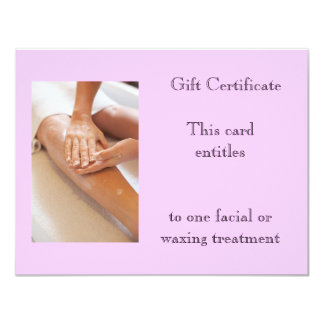 """Waxing or Massage Gift Certificate 4.25"""" X 5.5"""" Invitation Card"""