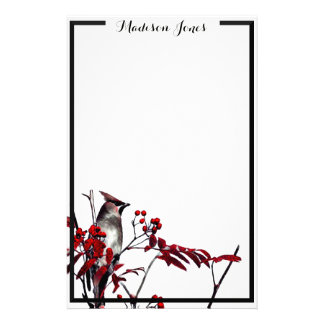 Waxwing de cedro personalized stationery