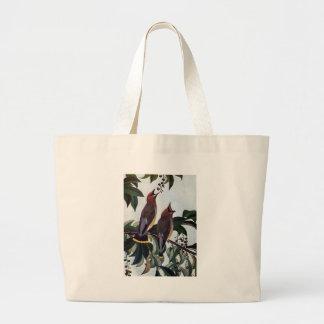 Waxwings de cedro en un cerezo negro salvaje bolsa tela grande