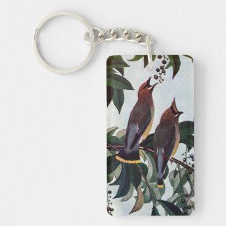 Waxwings de cedro en un cerezo negro salvaje llavero rectangular acrílico a una cara