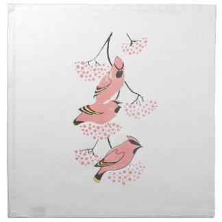 Waxwings rosados en bayas rosadas servilleta de papel