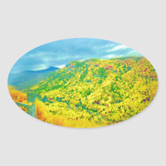 Way Above The Mountains Air Brushed Oval Sticker