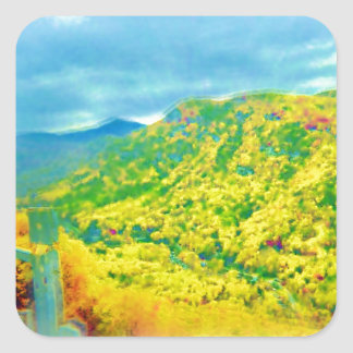 Way Above The Mountains Air Brushed Square Sticker