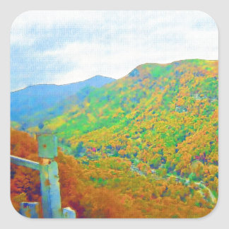 Way Above the Mountains Square Sticker