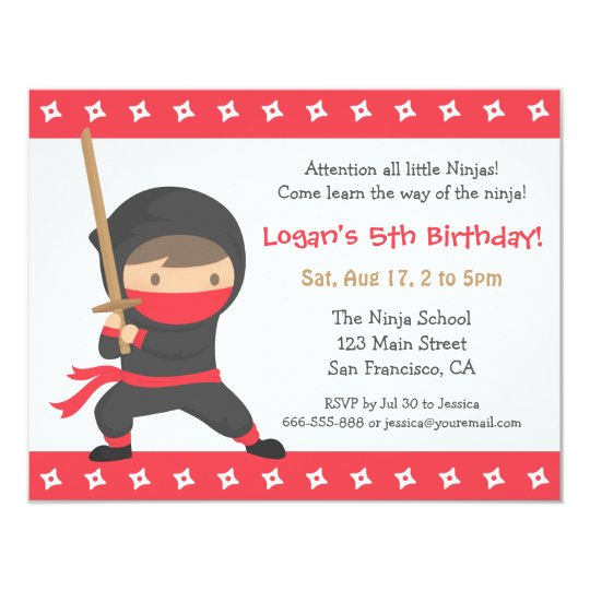 way of the ninja kids birthday party invitations zazzle com