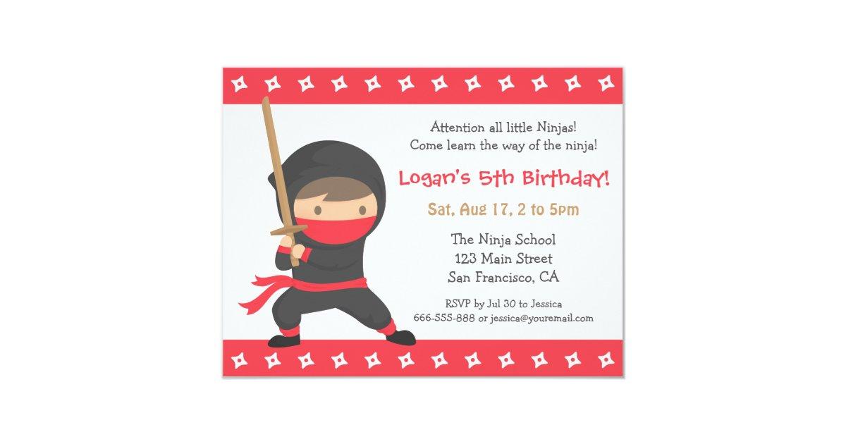Ninja Birthday Invitations & Announcements | Zazzle