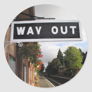 Way Out, Crowcombe Heathfield station, West Somers Classic Round Sticker