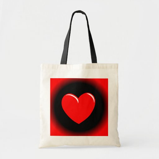 Way Out Red & Black Heart Budget Tote Bag