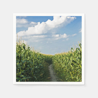 Way road between Corn field Standard Cocktail Napkin