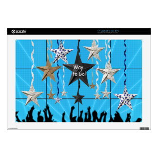 "Way to Go!, Stars Hanging with Ribbon, Crowd Silho 17"" Laptop Decal"