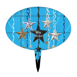 Way to Go!, Stars Hanging with Ribbon, Crowd Silho Cake Topper