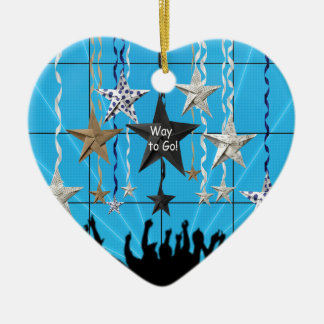 Way to Go!, Stars Hanging with Ribbon, Crowd Silho Ceramic Ornament