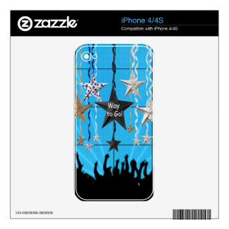 Way to Go!, Stars Hanging with Ribbon, Crowd Silho Decals For iPhone 4S