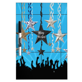 Way to Go!, Stars Hanging with Ribbon, Crowd Silho Dry Erase Board