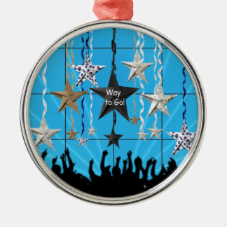 Way to Go!, Stars Hanging with Ribbon, Crowd Silho Metal Ornament