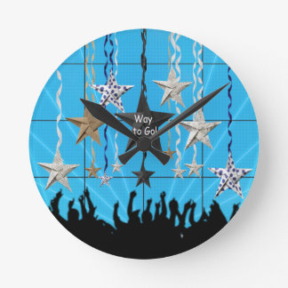 Way to Go!, Stars Hanging with Ribbon, Crowd Silho Round Clock