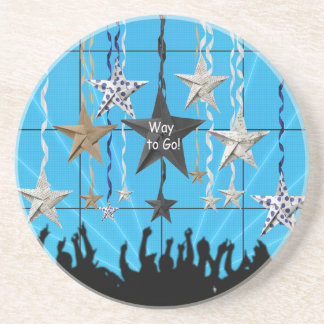 Way to Go!, Stars Hanging with Ribbon, Crowd Silho Sandstone Coaster