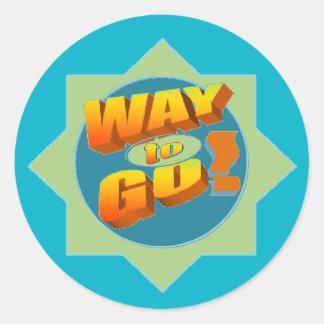 WAY TO GO Sticker, Glossy Classic Round Sticker