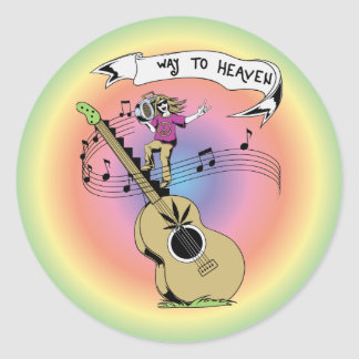 Way To Heaven ~ 60s Hippie Peace Sign Classic Round Sticker