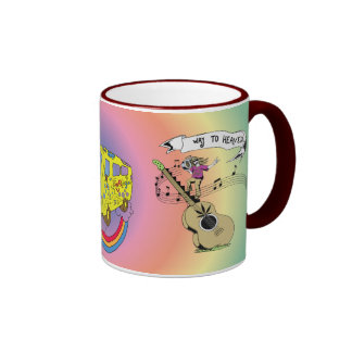 Way To Heaven 60s Hippie Peace Sign Coffee Mugs