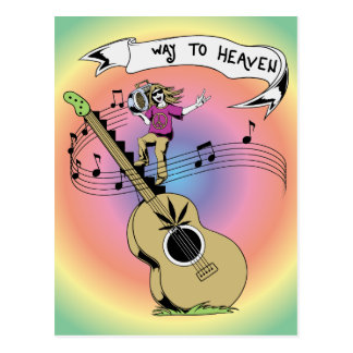 Way To Heaven ~ 60s Hippie Peace Sign Postcard