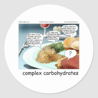 Way Too Complex Carbohydrates Funny Gifts & Tees Classic Round Sticker