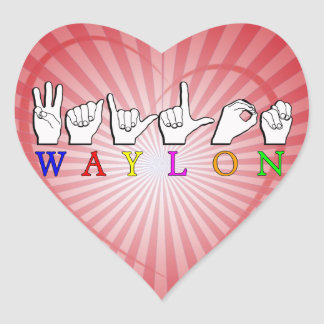 WAYLON ASL FINGERSPELLED NAME SIGN HEART STICKERS