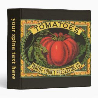 Wayne Co Tomatoes Vintage Fruit Crate Label Art 3 Ring Binders