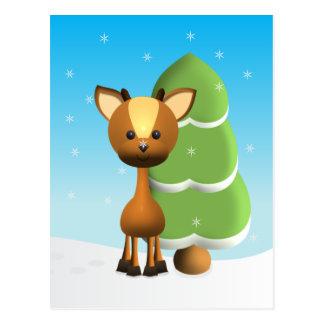 Wayne Deer in the Snow Postcard