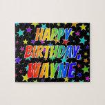 "[ Thumbnail: ""Wayne"" First Name, Fun ""Happy Birthday"" Jigsaw Puzzle ]"