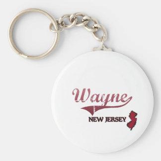 Wayne New Jersey City Classic Basic Round Button Keychain