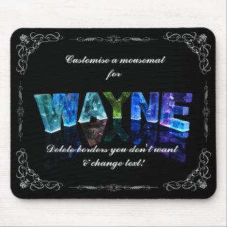 Wayne  - The Name Wayne in 3D Lights (Photograph) Mouse Pad