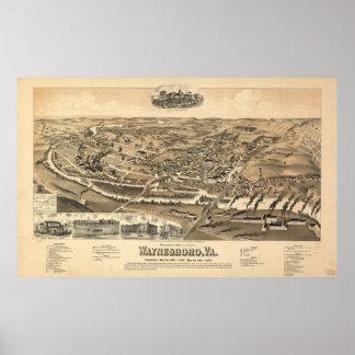 Waynesboro Virginia 1891 Antique Panoramic Map Poster