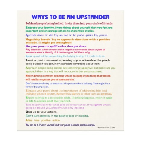 Ways to Be an Upstander v II Wrapped Canvas