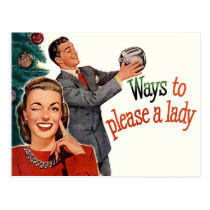 Ways to please a lady, funny Christmas vintage Postcard