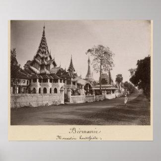 Wayzayanda monastery and pagodas at Moulmein Poster