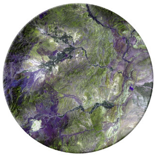 Waziristan Hills Satellite Image Porcelain Plates