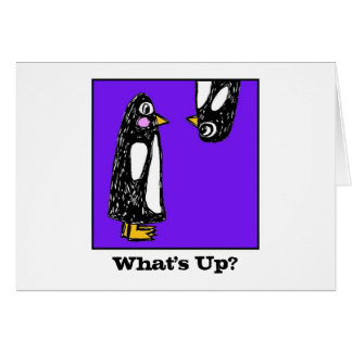 """""""Wazzup"""" Penguins - Party Invitations Greeting Card"""
