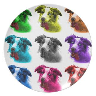 wb australiano del arte pop del perro de pastor plato de comida
