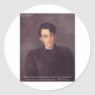 """WB Yeats """"Pilgrim Soul"""" Love Quote Gifts & Cards Classic Round Sticker"""