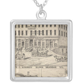WC Simond's' Block in Brandon Silver Plated Necklace