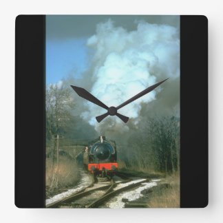 WD 0-6-0 Fred leaves Haworth_Steam Trains Square Wall Clock