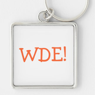 WDE! Silver-Colored SQUARE KEYCHAIN