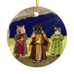 we 3 cats christmas shirt ceramic ornament