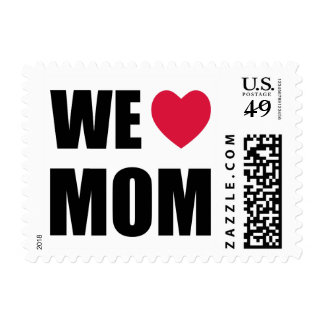 WE <3 MOM - Black Text and Red Heart Design Postage