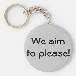 We aim to please! basic round button keychain