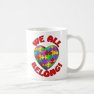 We all belong puzzle heart coffee mug
