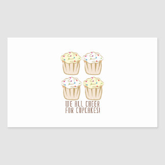 We All Cheer For Cupcakes! Rectangular Sticker