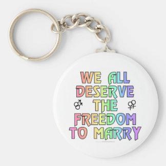 We all deserve the freedom to marry basic round button keychain